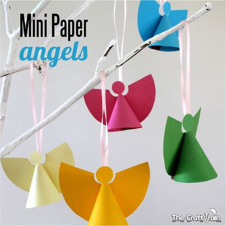 Mini paper angel ornaments. Great Christmas craft for kids.