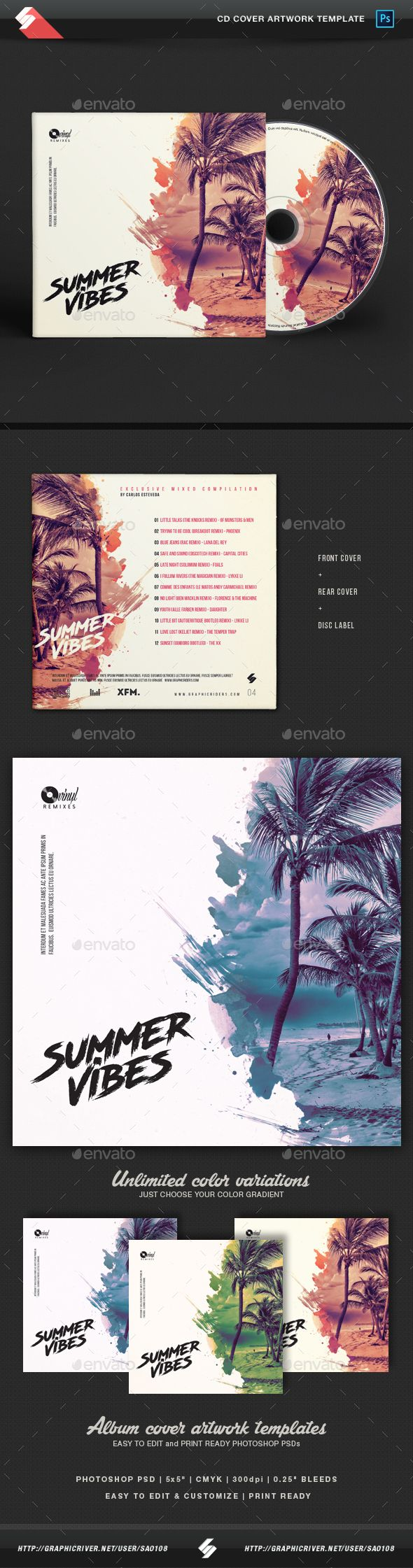 Summer Vibes vol.4 - CD Cover Artwork Template PSD. Download here: https://graphicriver.net/item/summer-vibes-vol4-cd-cover-artwork-template/17280359?ref=ksioks