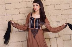 Picture of Caramel  and Black Kameez and Trousers