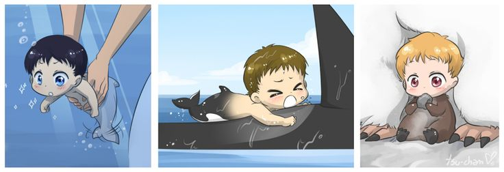 LOL, look at Haru's little tail ...   •Haru want to swim around without mommy ...  •Makoto taking his first breath outside the water ...  •Nagisa will learn in the worst way you shouldn't eat rocks. ...  Free! - Iwatobi Swim Club, haruka nanase, haru nanase, haru, free!, iwatobi, makoto tachibana, nagisa hazuki, makoto, nagisa, tachibana, hazuki,