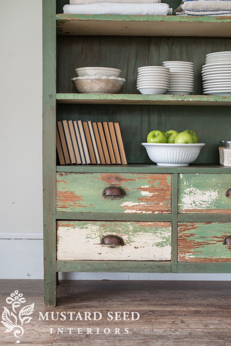 miss mustard seed   green bookshelf   miss mustard seed shares another find for the Lucketts Spring Market. A perfect green, chippy antique bookshelf with plenty of storage!
