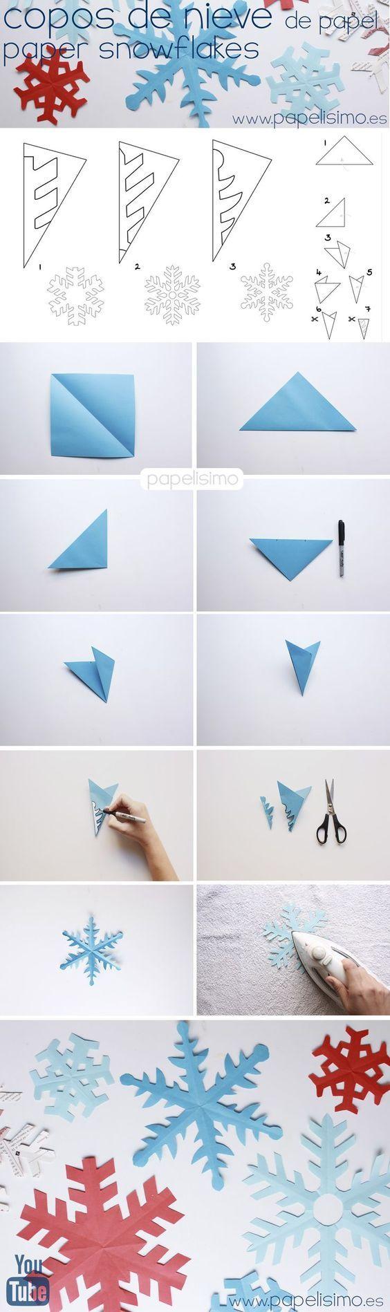 como hacer copos de nieve de papel paper snowflakes, PASO A PASO: CÓMO HACER COPOS DE NIEVE DE PAPEL Para cada copo de nieve de papel neceitaremos una hoja cuadrada, si en casa tienes papel normal tamaño A4, el primer paso es cortar el papel para tener una hoja cuadrada.:
