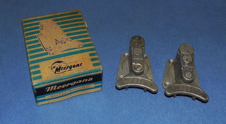 VINTAGE MEERGANS RELEEZ SKI BINDINGS - CIRCA 1950'S  ,  U.S.A.  IN BOX   #MEERGANS