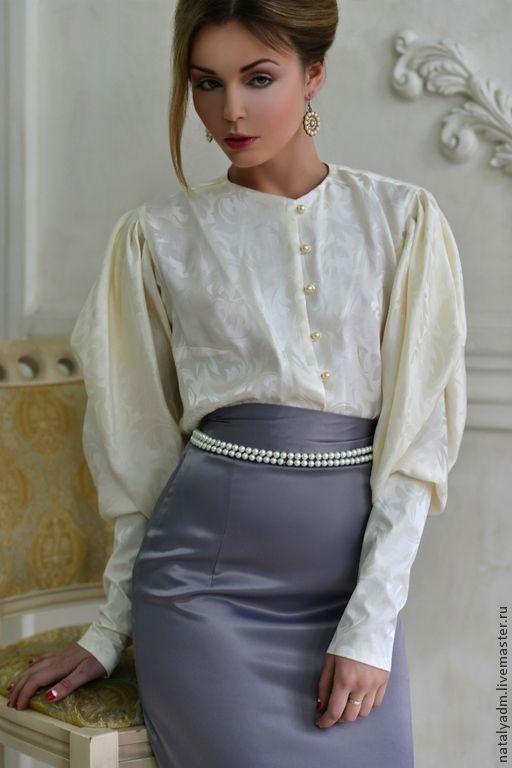 """Блуза и юбка из авторской коллекции """"Обаяние холода"""" - белый,цветочный"""
