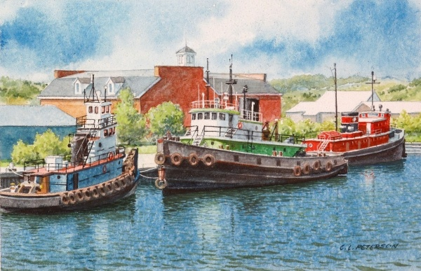 "#""Sturgeon Bay Tugs"" - original watercolor by Charles L. Peterson  #Travel Wisconsin USA multicityworldtravel.com We cover the world over 220 countries, 26 languages and 120 currencies Hotel and Flight deals.guarantee the best price"