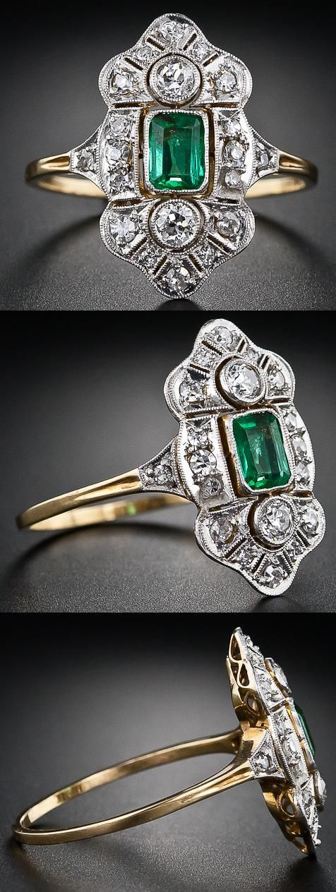 Art Deco emerald and diamond dinner ring in platinum and gold.