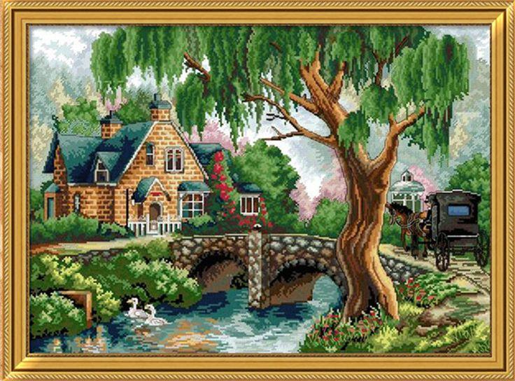 Рукоделие,Сделай сам в DMC вышивки крестом,наборы для наборы для вышивания,домашние цветы мосты структуры Счетный крест-шить,стены дома decro с