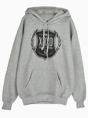 Shop XOXO Logo Print Gray Hoodie With No.88 Back from choies.com .