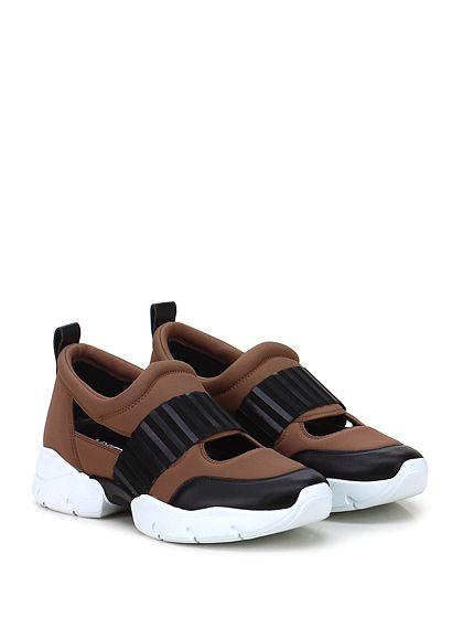 GREY MER - Sneakers - Donna - Sneaker in tessuto tecnico e pelle con aperture su tomaia e fascia lavorata frontale. Suola in gomma extra light, tacco 40, platform 25 con battuta 15. - ROSA ANTICO