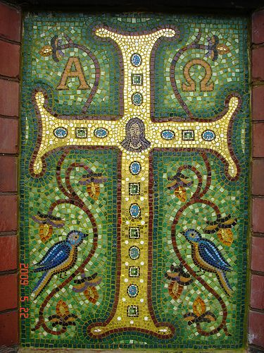 Cross mosaic,inspired from a Ravenna cross.Smalti set in traditional lime based mortar. | Flickr - Photo Sharing!