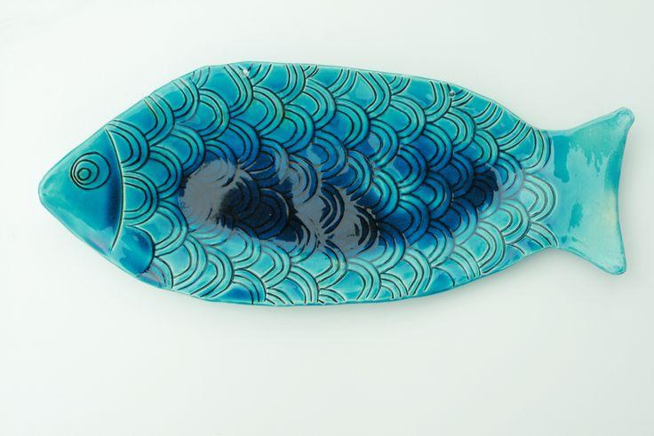 Pesce turchese in ceramica | big turquoise ceramic fish