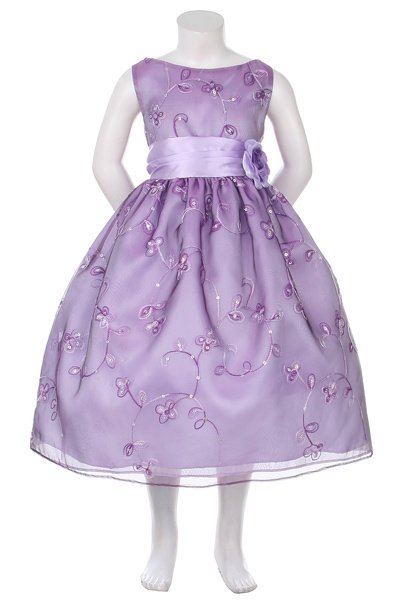 Purple Organza Dress with Embroidered Flowers and Sequins