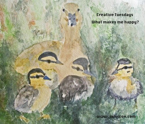 What does happiness mean to me?  http://www.janiscox.com/creative-tuesday-happiness-how-a-human-cared-for-a-baby-duck-and-that-duck-became-a-great-mother/