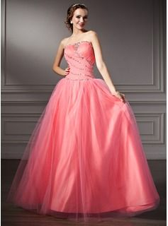 A-Line/Princess Strapless Floor-Length Satin  Tulle Quinceanera Dresses With Ruffle  Beading (021002898)