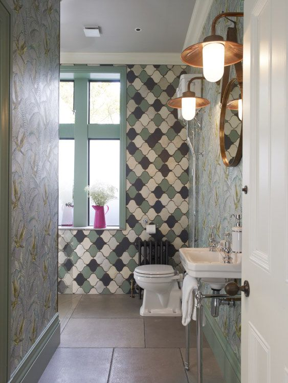 Marrakech Fired Earth wall tiles, Mathew Williamson wall paper and copper light fittings supplied by the Secret Drawer