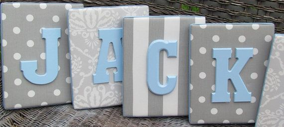 Wall Letters, Blue and Gray Nursery, Gray and Baby Blue Nursery, 8x10, Framed Monogram, Baby Nursery, Painted Letters,Letters, Personalized via Etsy
