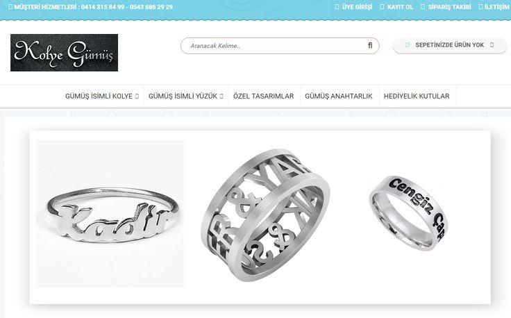 kolyegumus.com gümüş isimli kolye , gümüş sonsuzluk kolye, gümüş isimli yüzük