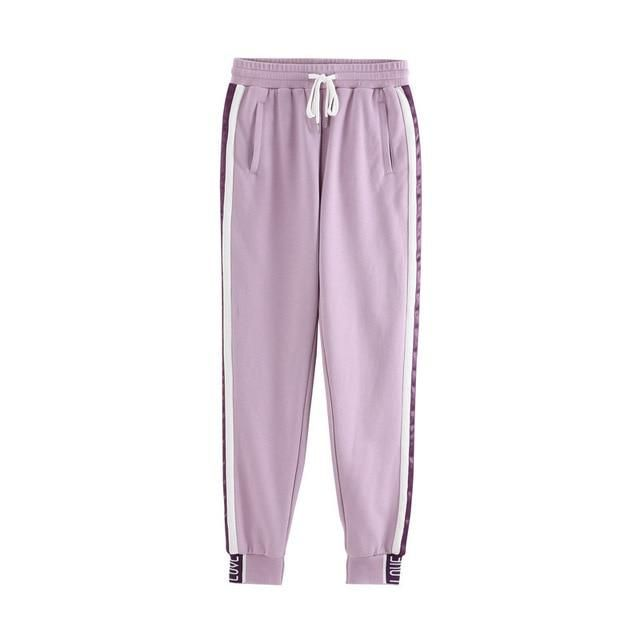 Long Sport Leisure Pants 2019 Women Bottoms Double Striped Jogger Harem Pants Sweatpants Sportswear Trousers purple L