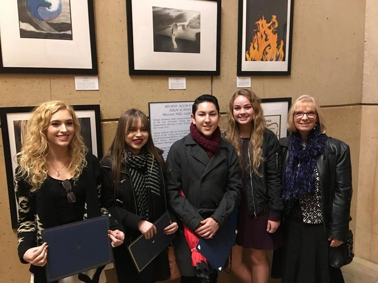 Five of our students participated in the Catholic High Schools Art Show at Our Lady of the Angels Cathedral. From left Bridget Poston Isabella Julian Thomas Malagon and Elizabeth Benz (along with Sabeya Vives) along with Mrs Mullich presented art for the Mass. #art