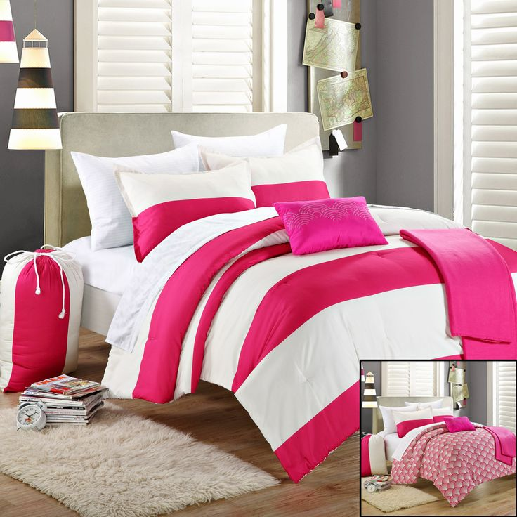 Chic Home Ruby 10-Piece Comforter Set Full Size, Shams Decorative Pillows and Sheet Set Included. #Backtoschool Series  #LuxBed #College #Dorm