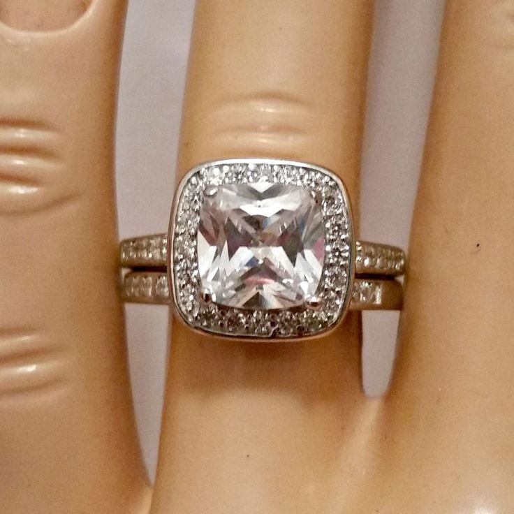 Sterling Silver Wedding Set Size 8 Cz Engagement Ring Bridal New Halo 925 W47