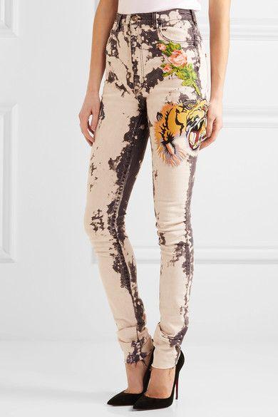 Gucci - Appliquéd Bleached High-rise Skinny Jeans - Dark gray - 27
