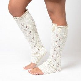Ivory Knit Boot Socks