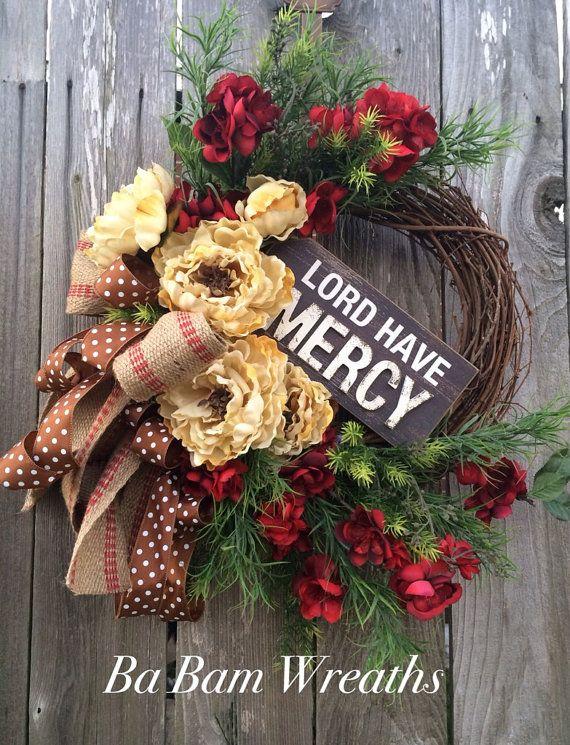 Summer Wreath Natural Wreath Front Door Door by BaBamWreaths