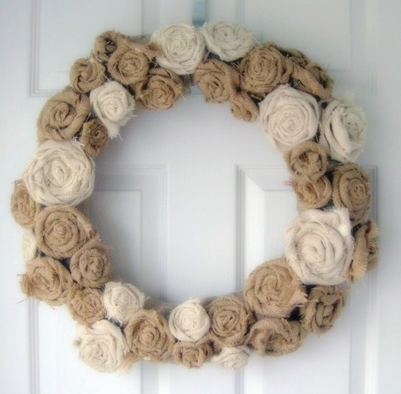 burlap wreath. Make one that incorporates paper flowers from old books. -CAB