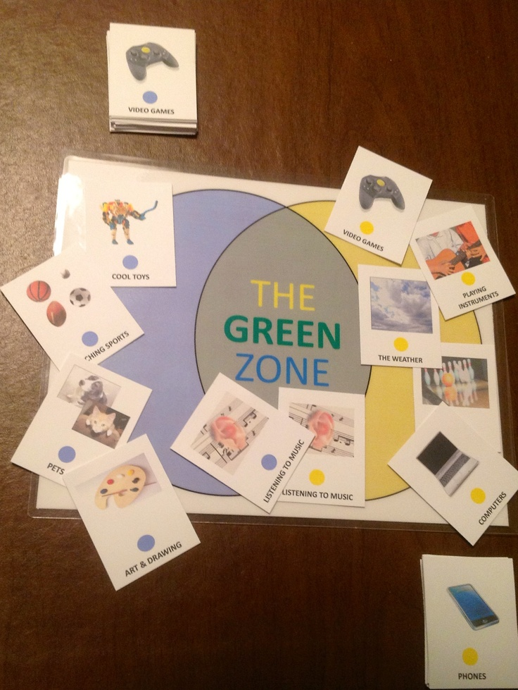 "Acknowledging the interests of others can be really hard for kids with ASD without a visual strategy to learn it.  Here are the Green Zone Board and picture cards, used to help kids with ASD find common ground in conversation practice.  Part of a kit that includes two workbooks and a CD.  In the Green Zone Board activity, two people find picture cards showing their interests, and place them in the yellow or blue zones.  When they find a match, they are in the ""green zone"" and they talk about…"