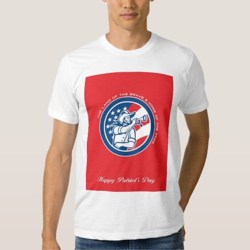 Patriots Day Greeting Card American Cavalry Soldie T-shirt. Patriots Day greeting card featuring an illustration of an American calvary soldier blowing a bugle looking to the side set inside circle with USA stars and stripes flag in background done in retro style with the words The Land of the Brave & Home of the Free, Happy Patriot's Day. #illustration #PatriotsDayGreetingCardAmericanCavalry