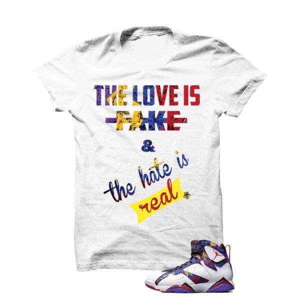 7e606839fd779a ... match Jordan 11 Black Heiress  Jordan 11 Low Midnight Navy Gum White T  Shirt (Love Is Fake) - illCurrency ...