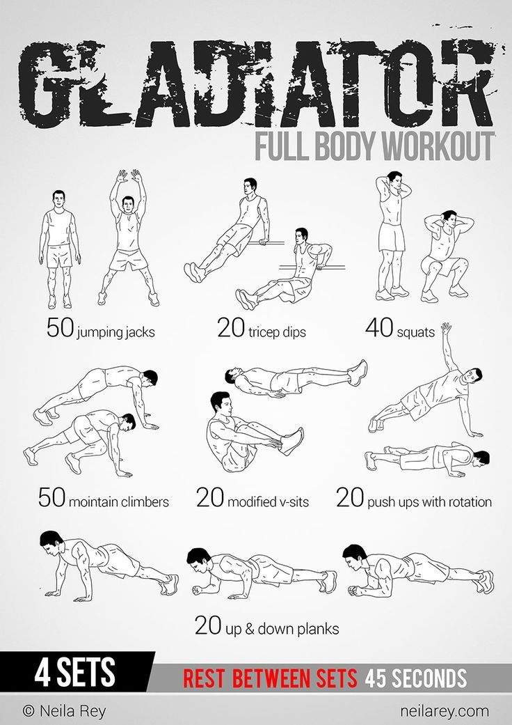 Gladiator Workout: This site has 100 amazing no equipment workouts. Free phone and tablet download, also a paperback copy you can purchase from Amazon for $10