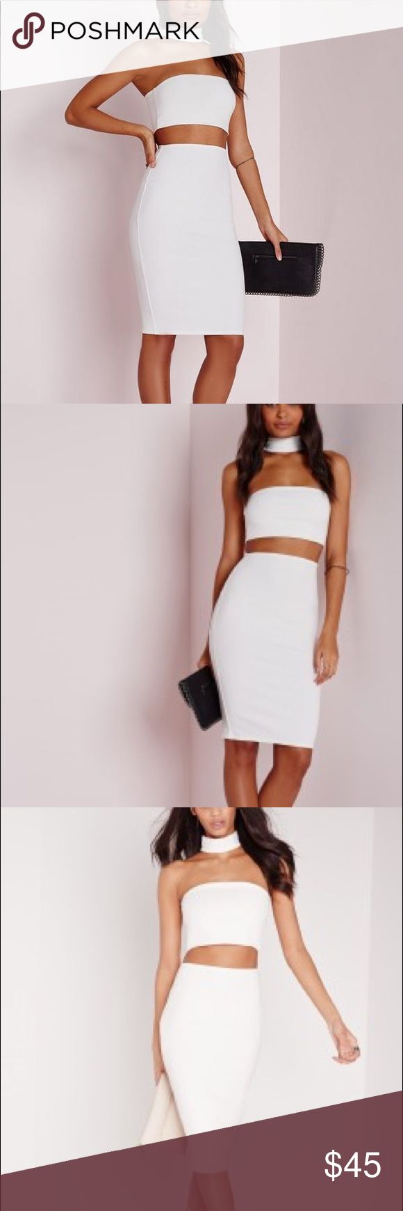 White Choker Dress NWT Beautiful white Choker cut out dress bandeau top - looks like two piece set from front but connected on the back - brand New - sold out online Missguided Dresses Strapless