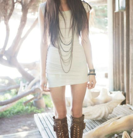 simple with great contrast between soft (white dress) and tough (leather boots)