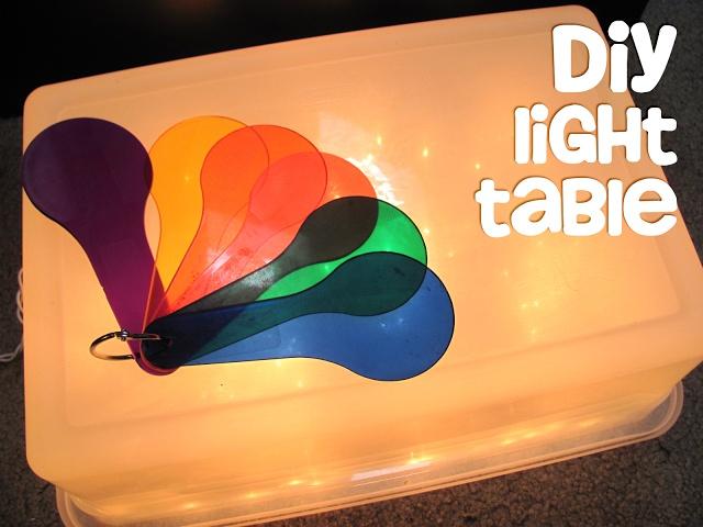DIY Light Table (storage bin, white Christmas lights)