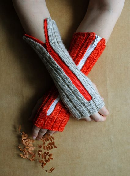 how-to: zippered hand warmers: Fingerless Gloves, Fingerless Mittens, Hands Warmers, Wrist Warmers, Arm Warmers, Zippers Hands, Crochet Crafts, Whit Knits, Purl Bees