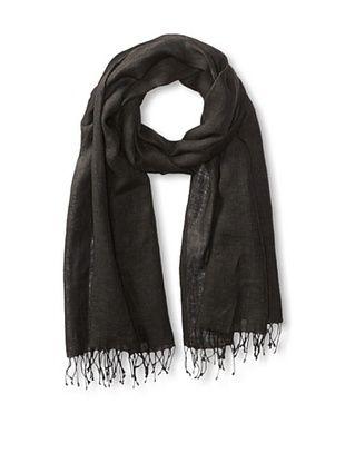 60% OFF Carolina Amato Women's Fringe Linen Wrap, Black