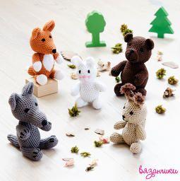 Вязаные животные на в лесу: медведь, лиса, волк, белка, заяц. Crochet forest animals: bear, fox, wolf, hare, squirrel.  Amigurumi