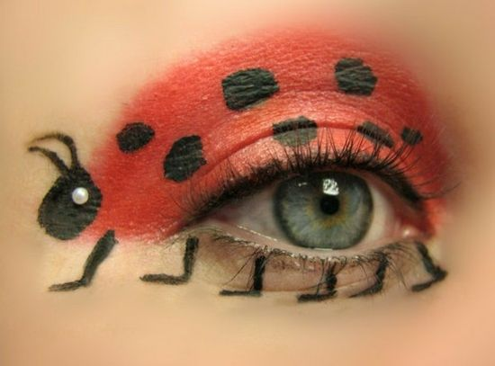 interessante Augenschminke Fasching Schminktipps Marienkäfer