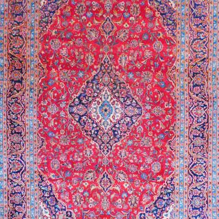 Persian Hand Knotted Kashan Red/ Navy Wool Rug (8u0027 X 12u0027