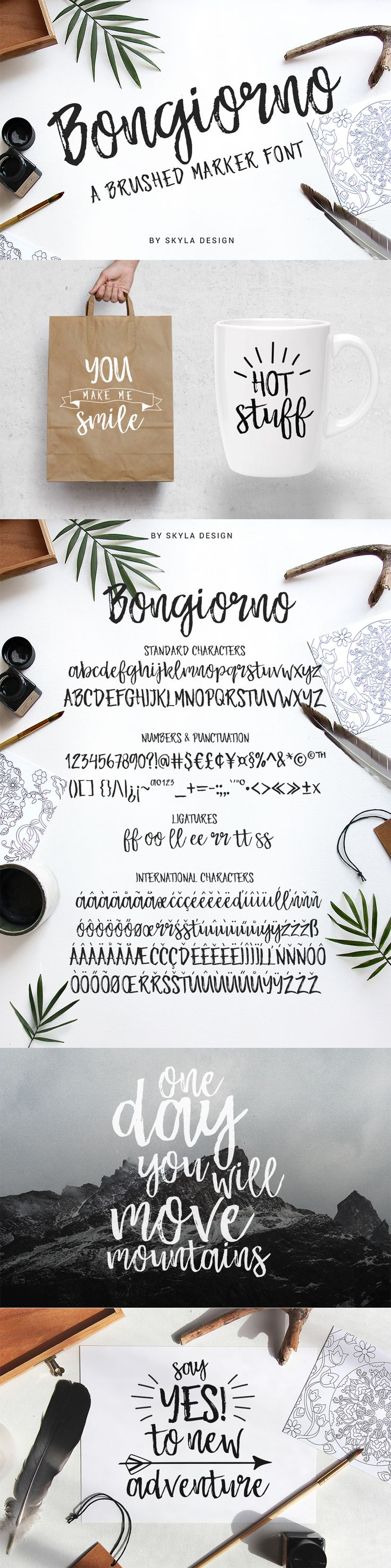 Bongiorno is a brushed marker script with a rough edge and loads of texture for a brushed look. This font is perfect for using in ink, brushed designs and works great for display headers, invitations, posters, T-shirts, greeting cards and branding materials.