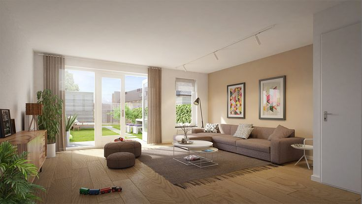 Muur zand beige bijpassende gordijnen sowieso mooi om gordijnen te splitsen twee voor de - Gordijnen voor moderne woonkamer ...
