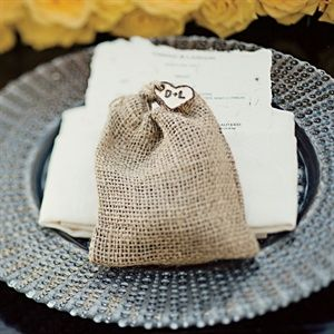 Cute burlap bags for sea salt favors would be great for a natural wedding