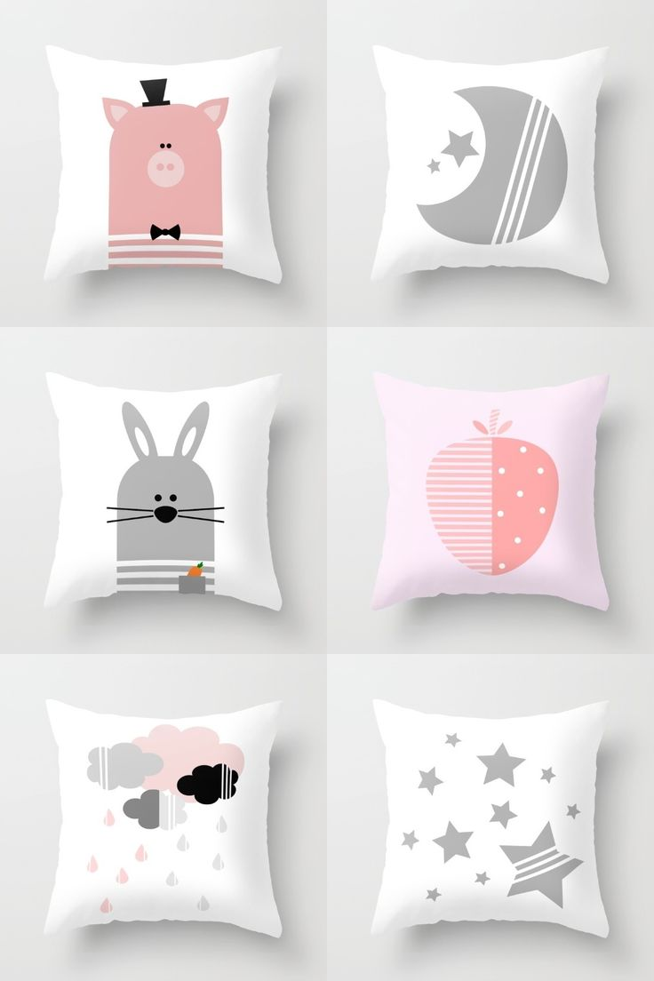 Horse shaped pillows for children - Pink And Gray Nursery Or Kids Room Decorative Throw Pillows On Society6 Bunny Pillow