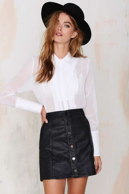 Nasty Gal Tux Luck Sheer Crop Top - Sale : Clothes