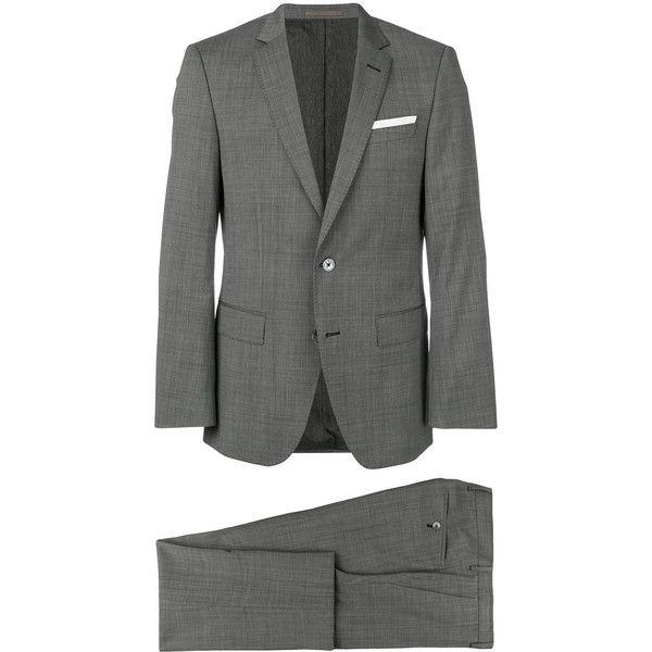 Boss Hugo Boss classic two piece suit (€600) ❤ liked on Polyvore featuring men's fashion, men's clothing, men's suits, grey, mens tailored suits, mens two piece suits, mens gray suit, men's 2 piece suits and mens grey suits