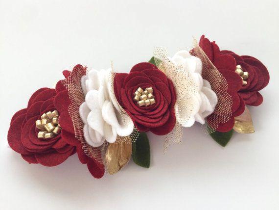Felt Flower Crown Felt Flower Headband by UponAStarBowtique
