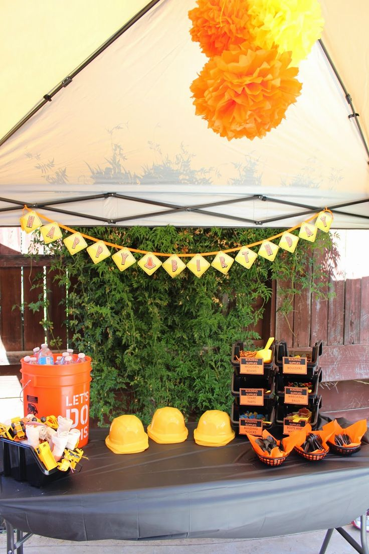 throw drinks (capri cups, water bottles) into a home depot 5 gallon bucket for your construction themed party