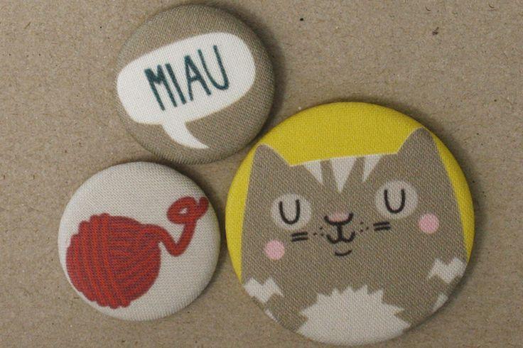 Katze Stoff-Buttonset von käselotti auf DaWanda.com